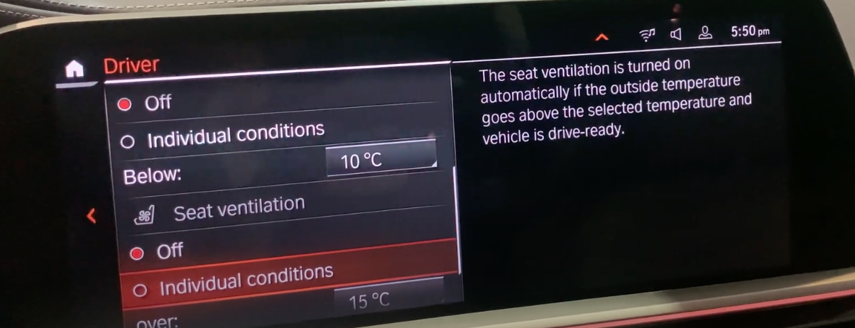 List of climate settings with seat ventilation selected
