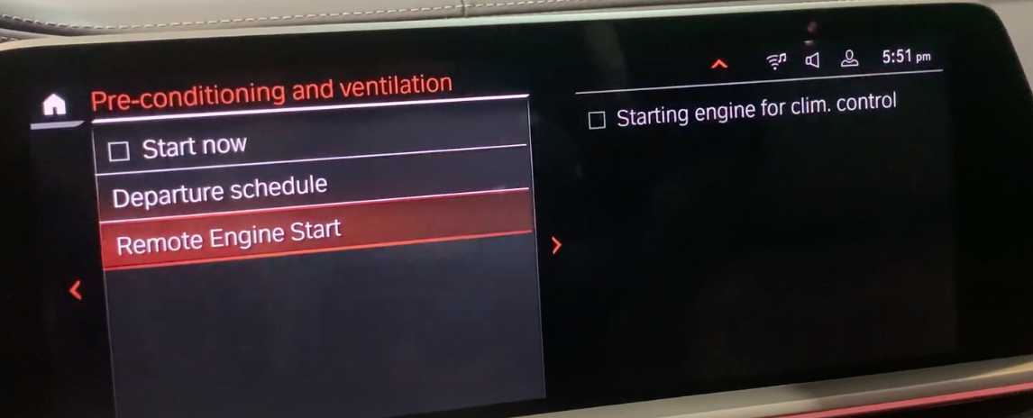 Pre-conditioning and ventilation settings page, remote and engine start