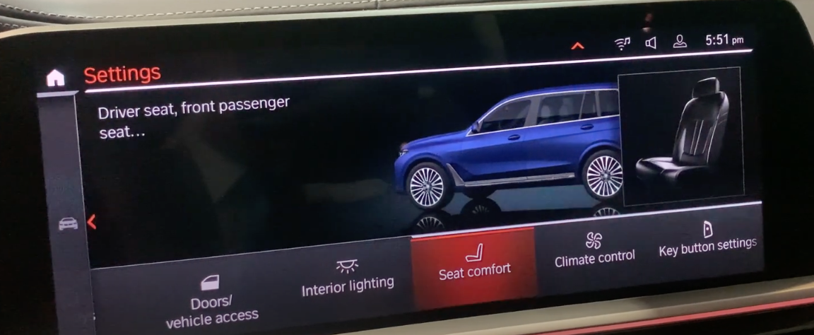 List of various vehicle settings with seat comfort chosen and a 3D model of a vehicle