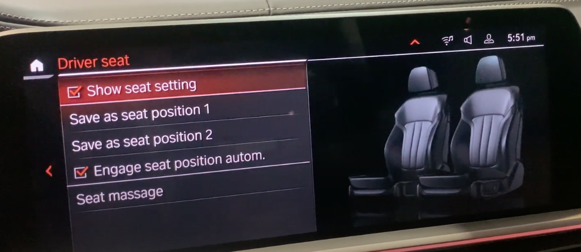 List of settings to arrange seat positioning with an illustration of front passenger seats
