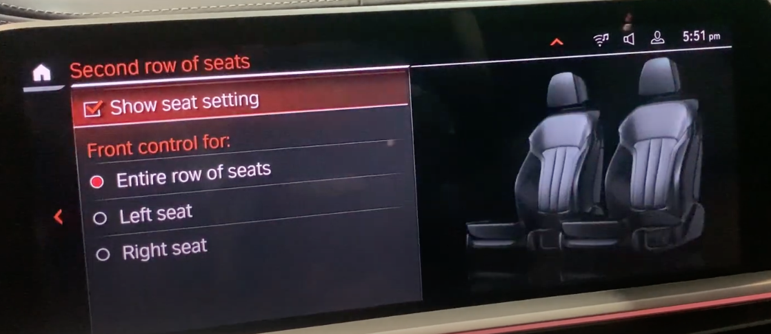 Selecting which seats could be controlled through front controls with an illustration of seats on the side