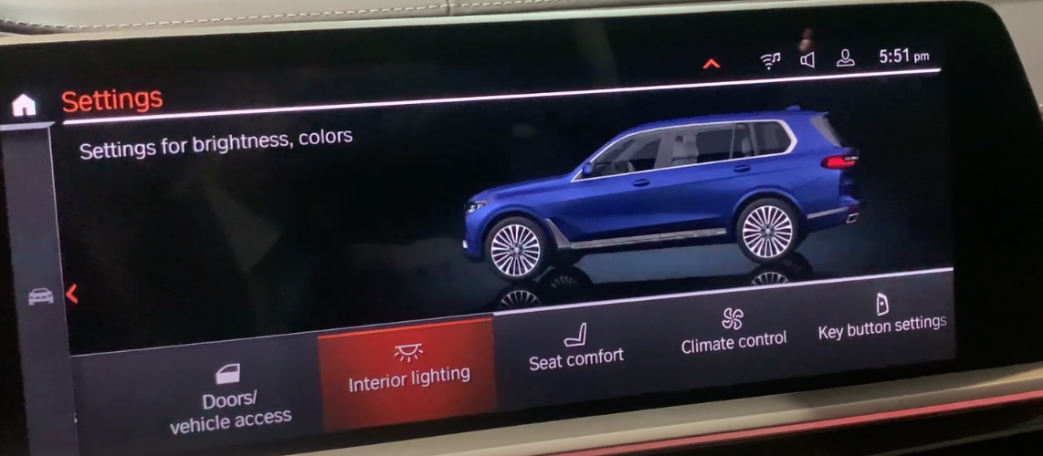 Various vehicle settings with the interior light option selected