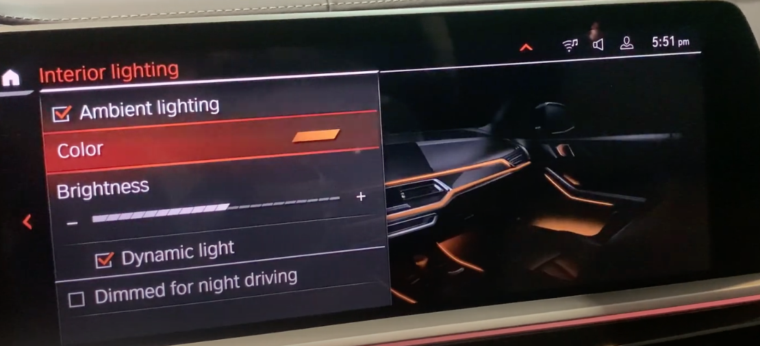 Ambient lighting settings such as color and brightness with an illustration of the interior of the car selected with a light