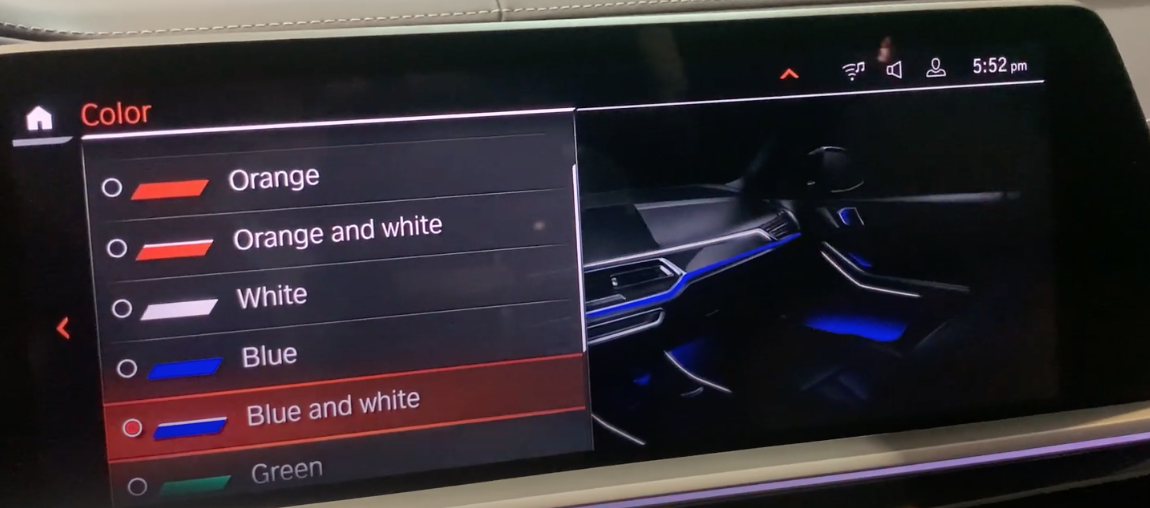 A list of color to chose from for ambient lighting and an illustration of the interior of a car showcasing the selected colour