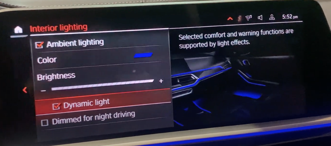 Turning dynamic lighting on and off which is when lighting and comfort settings are synchronized