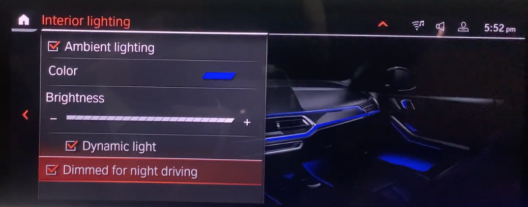 Turning on and off adapation of interior lighting to night driving