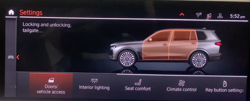 Various vehicle settings listed with the doors option selected