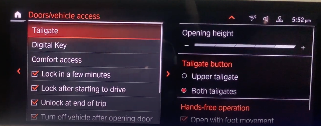A list of tailgate settings