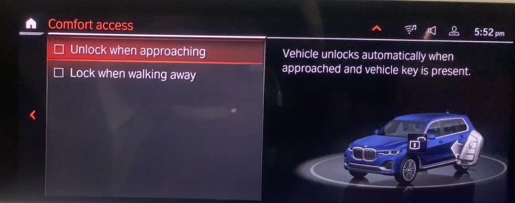 Settings to unlock vehicle automatically and a 3D model of a car