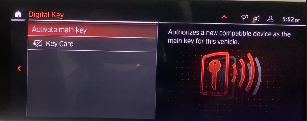 Settings to activate a digital key for the vehicle with an icon of a key