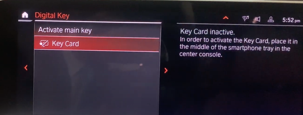 Setting up a key card for the vehicle with instructions