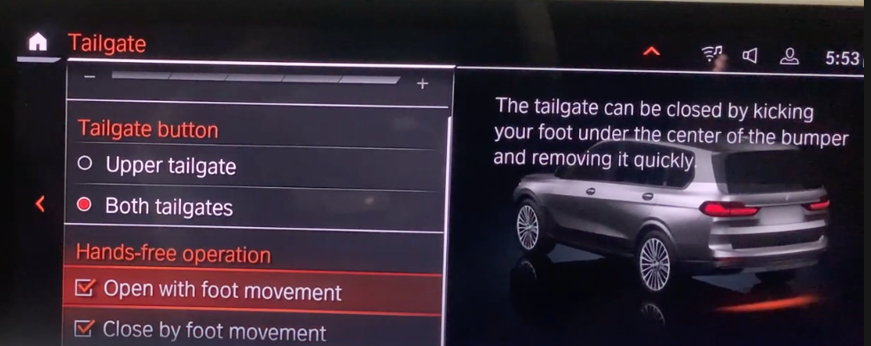List of tailgate settings with a 3D model of a car