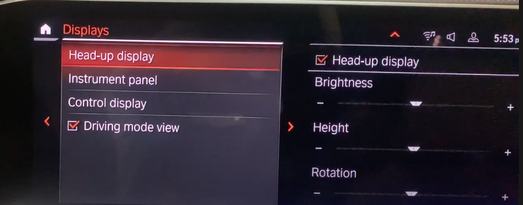 Settings for the heads up display such as brightness and height