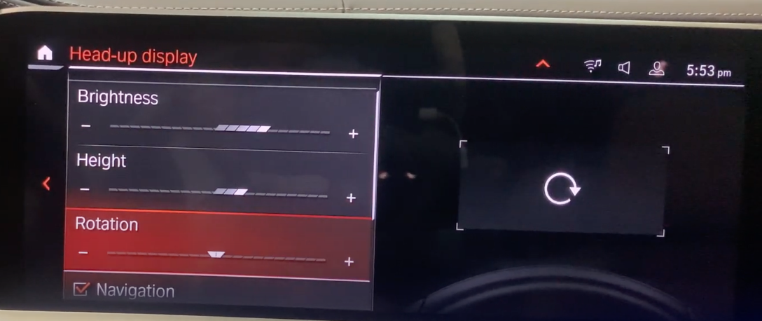 Adjusting the rotation of the heads-up display through the infotainment screen