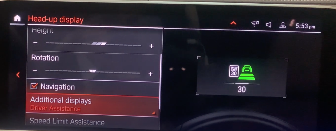 Adding driving assistance features to the heads-up display through the infotainment screen