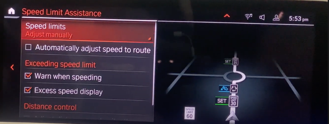 Speeding limit assistance settings with a map view on the right