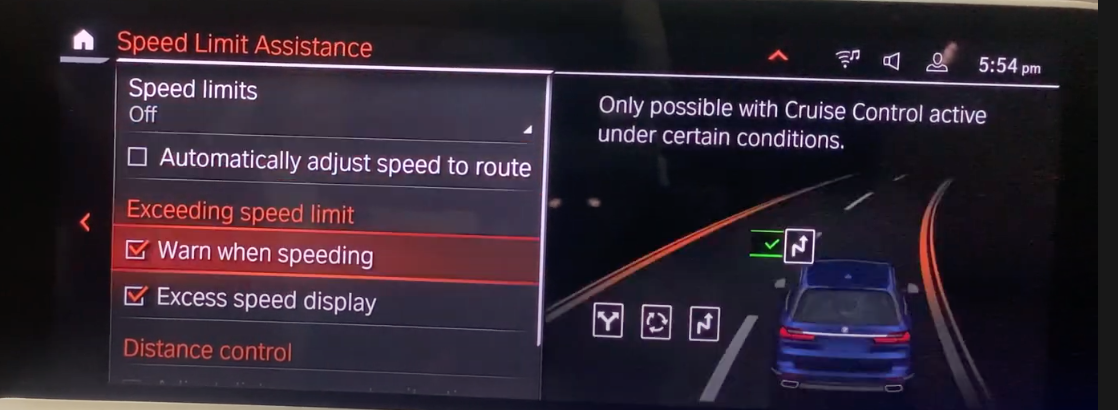 Speed limit assistance settings with an illustration of a vehicle on the road