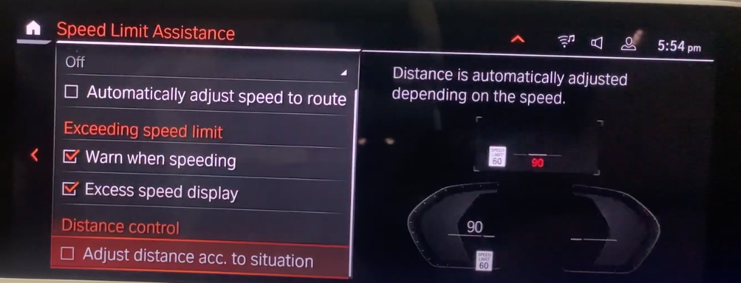 Speed limit and distance settings with an illustration of a gauge cluster on the right with speed