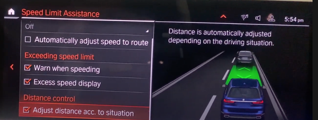 List of speed assistance settings with an illustration of a car on the road on the side