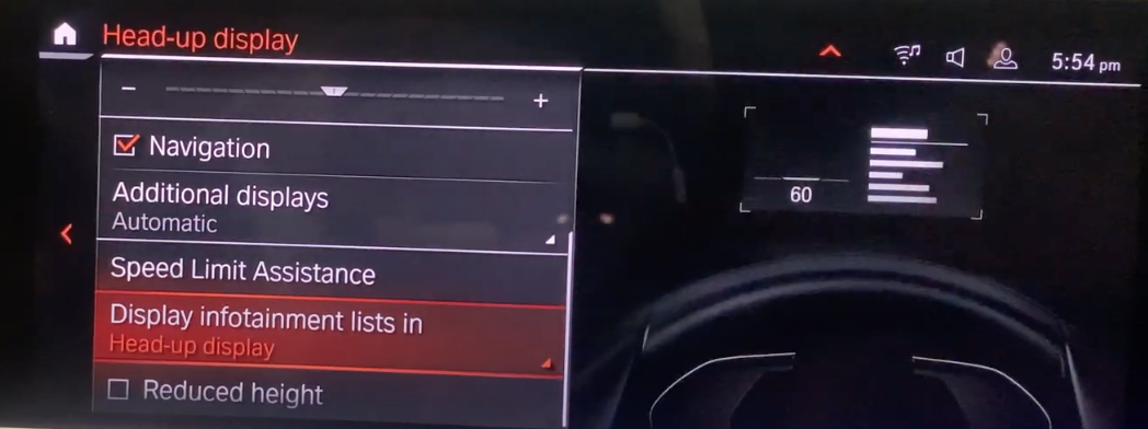 Various settings listed for the heads-up display