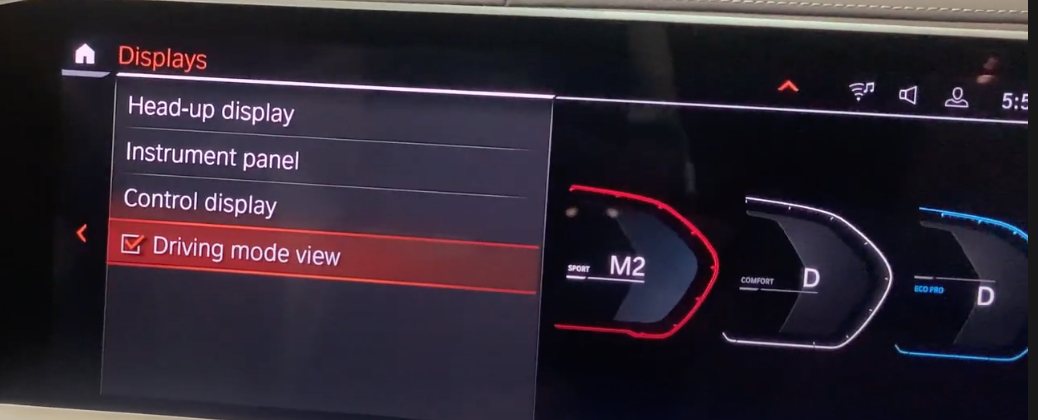 Settings to adjust how the driving modes are displayed on the instrument panel