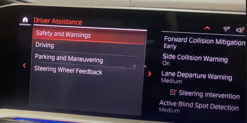 List of driver assistance settings with the safety option selected