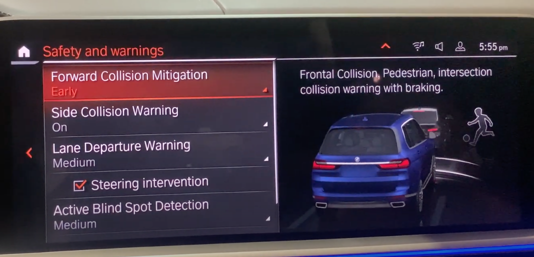 List of safety settings on the left with a 3D model of a vehicle on the left