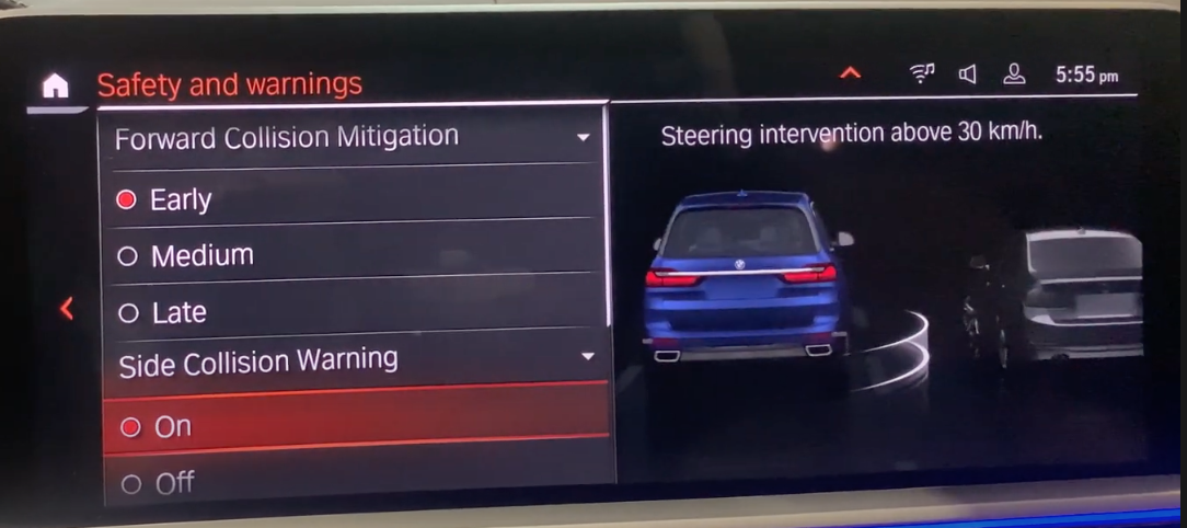 Chosing collision settings on the left with a 3D model of a car on the right