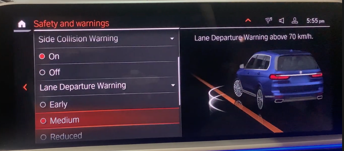 Settings for lane keeping with a 3D model of a car on the side