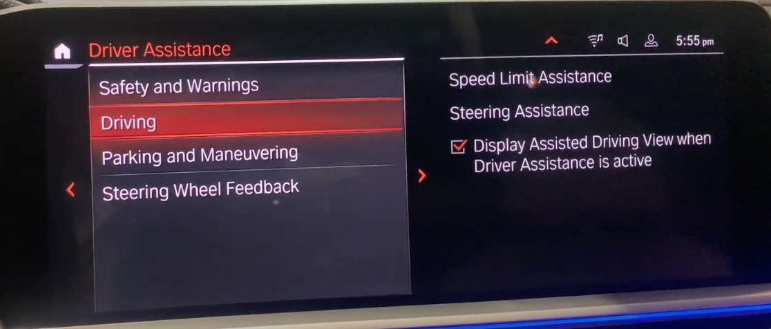 List of various driver assistance settings