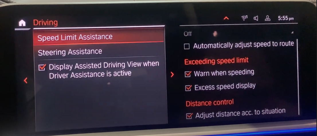 Turning on and off speed limit assistance with detailed settings on the side