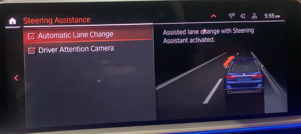 Turning on and off automatic lane change and driver attention camera with a 3D model of a vehicle on the right