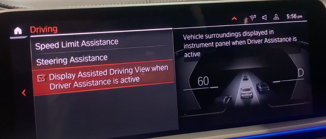 Turning on and off display assisted driving view when driver assistane is active and an illustration of the instrument panel on the right