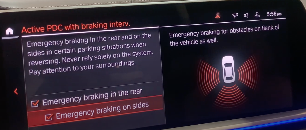 Turning on and off emergency braking system on the left with an illustration of a car with red warning signs