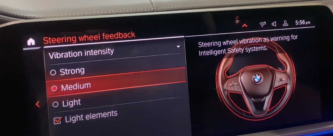 Setting steering wheel vibration to strong, medium and light with an illustration of a steering wheel on the right