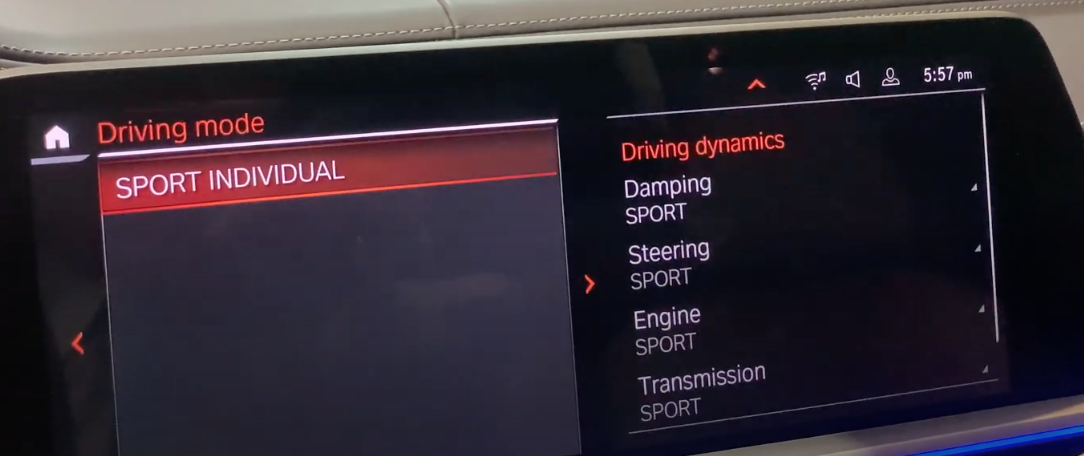 Driving mode selection on the left with detailed settings selections on the right such as steering, engine and transmission modes