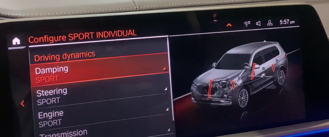 Various driving mode settings on the left such as engine, transmission and other with a see through 3D model of a vehicle with interior parts related to settings highlighted