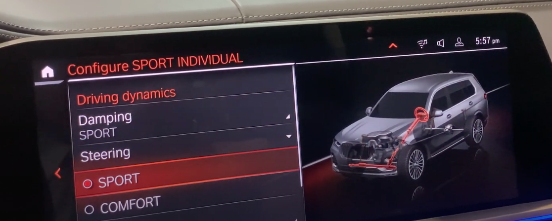 Selecting if the steering mode should be sport or comfort with a see though 3D model of a vehicle with the related parts highlighted