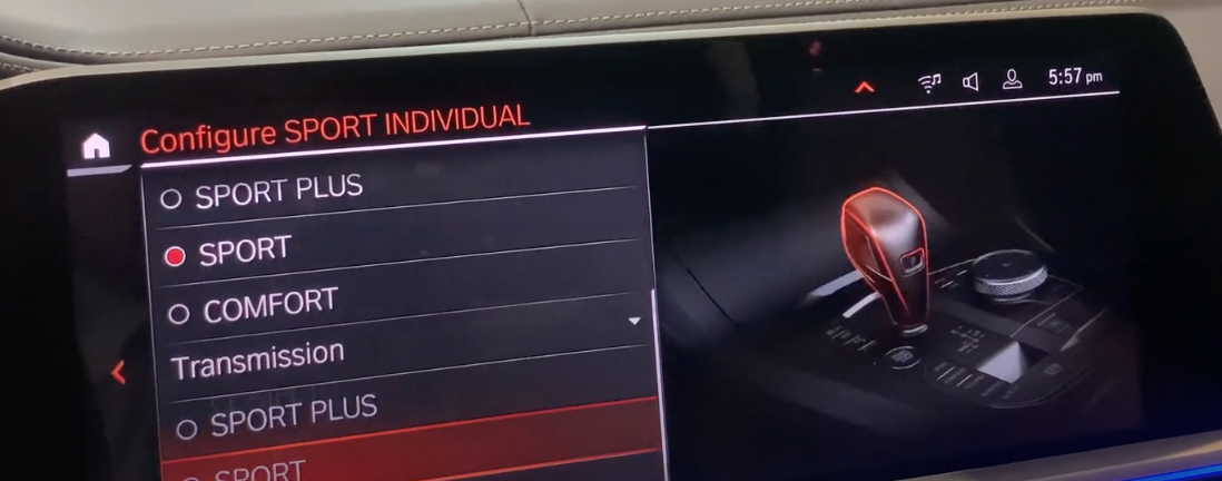 Setting up transmission mode to be either comfort or sport