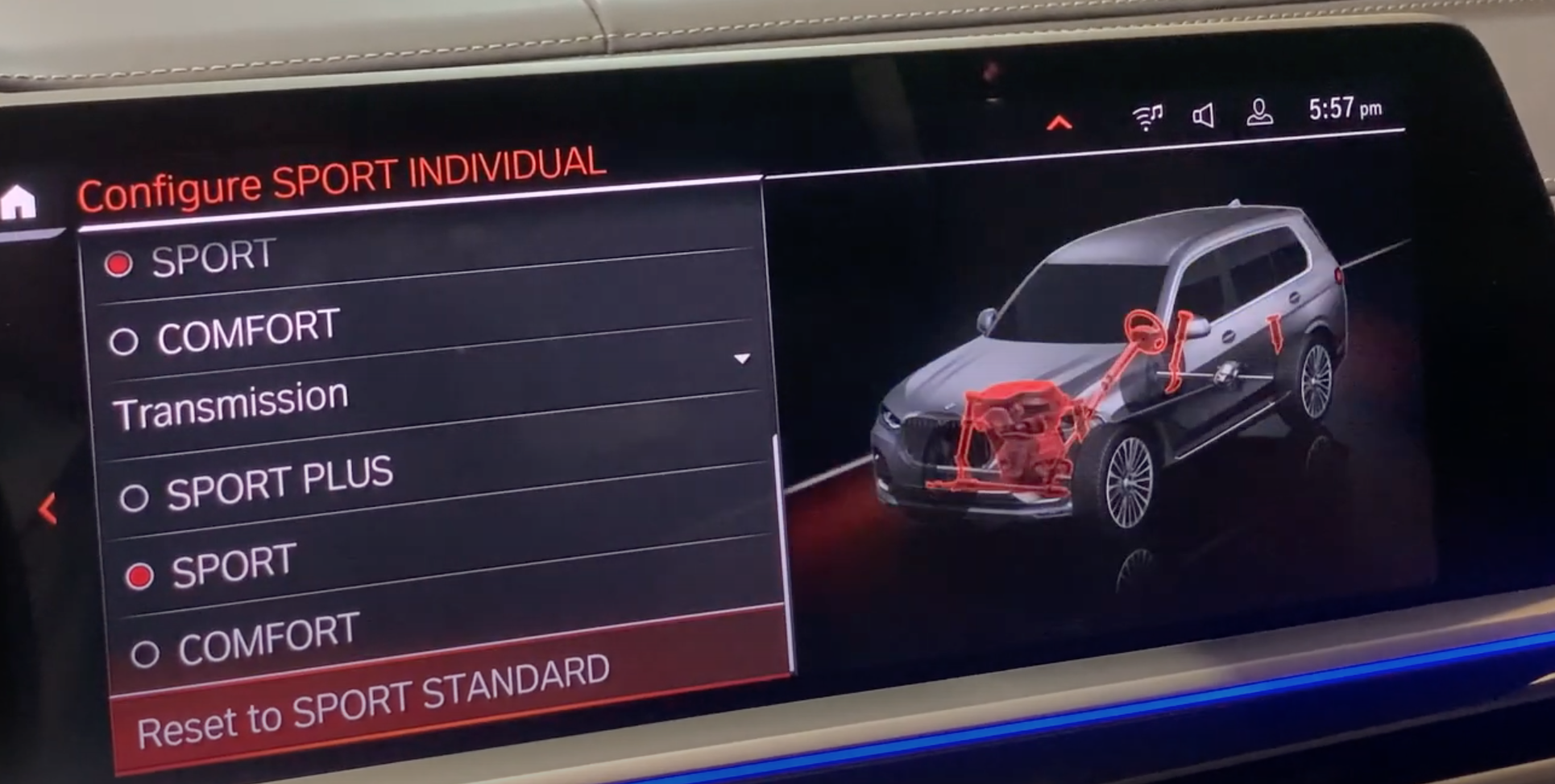 Resetting driving mode settings option with a see through 3D vehicle model with interior parts related to driving mode highlighted