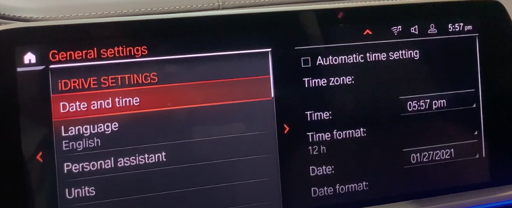 List of general settings for the infotainment system such as date/time and language