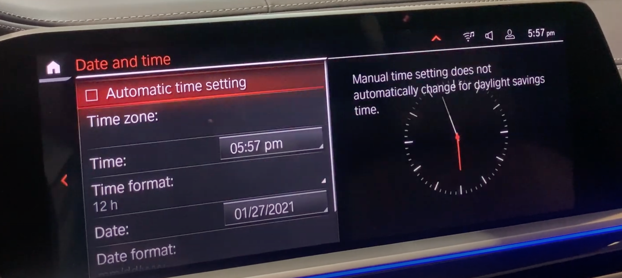 Date and time settings such as time zone and date format with an illustration of a clock on the right