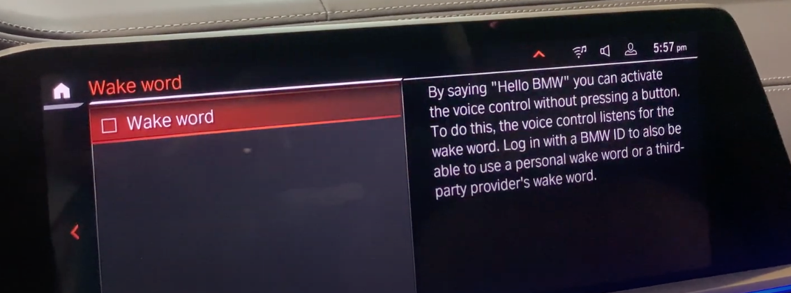 Turning on and off the wake word for the voice assistant feature