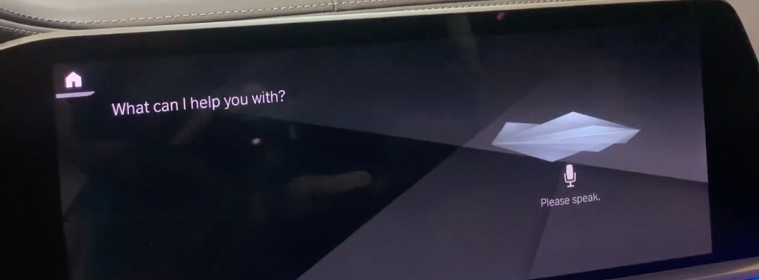 """The voice assistant screen with a small microphone icon and a text that says """"Please speak"""""""