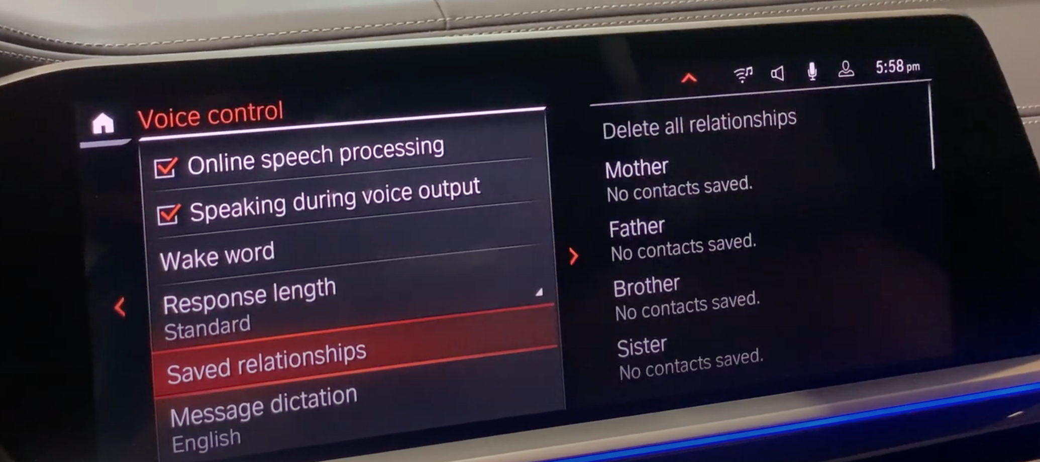 A list of saved relationships for the voice assistant to recognize such as mother, father, sister and brother