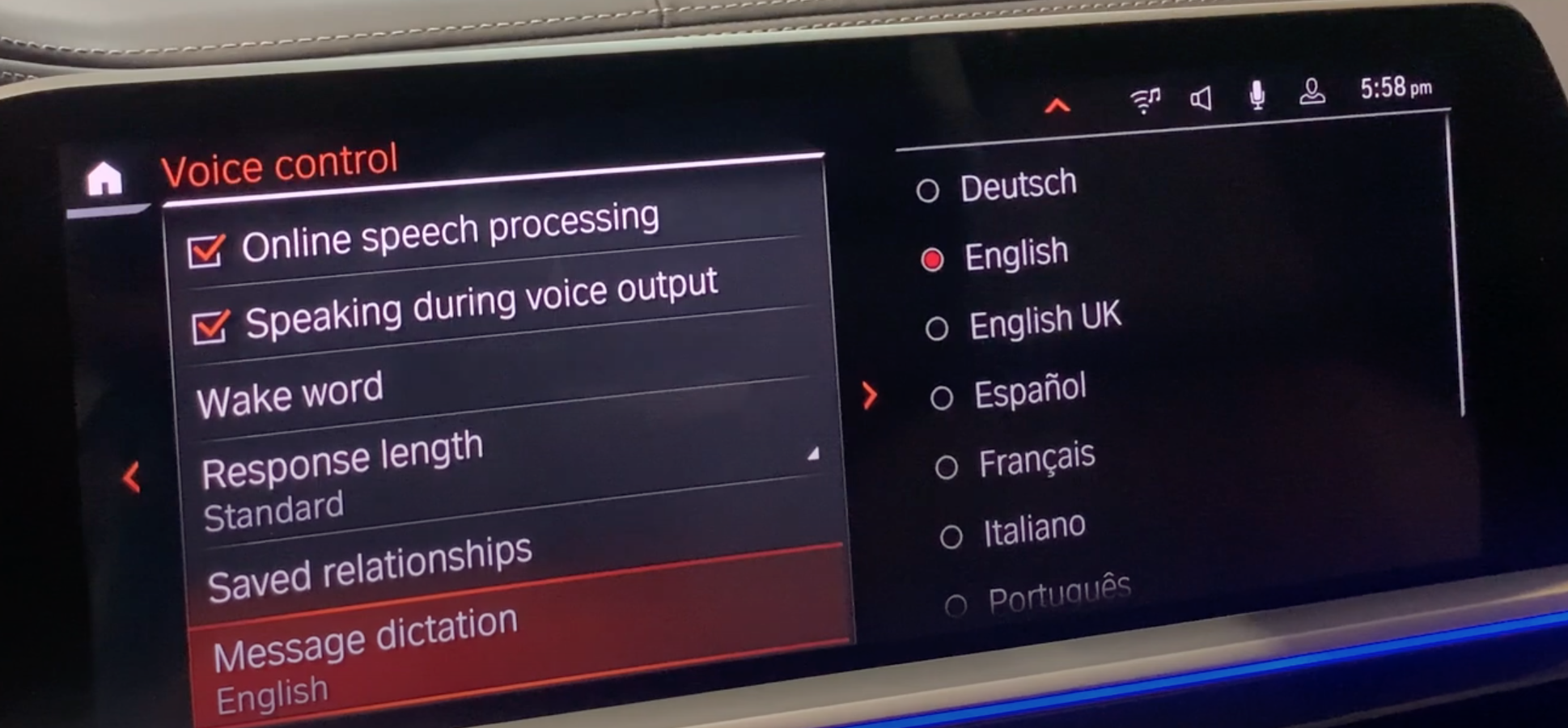 Various voice assistant settings listed on the right with the option to choose message dictation language on the right from a list of languages