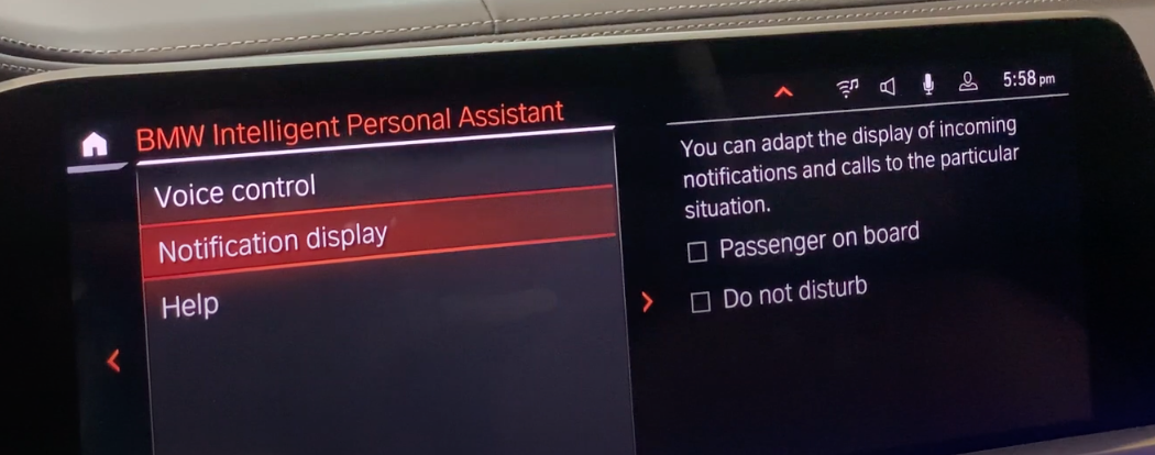 Setting up the notification system depending on a particular situation such as do not disturb or passenger on board