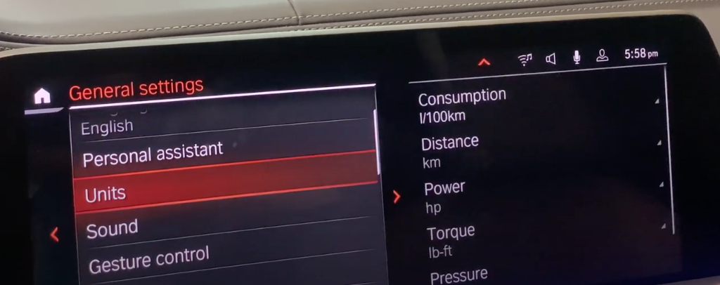 A list of general infotainment settings on the left with the option to choose preferred units on the right