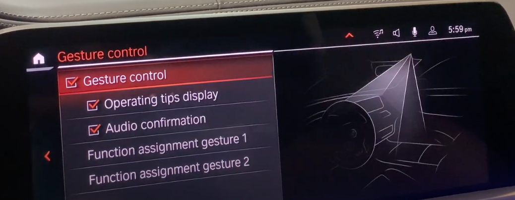 Settings for gesture controls such as turning on and off operating tips display and audio confirmation