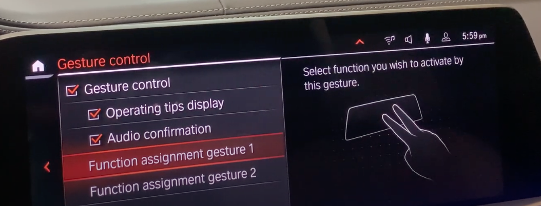 Gesture control settings such as assigning certain gestures to specific settings